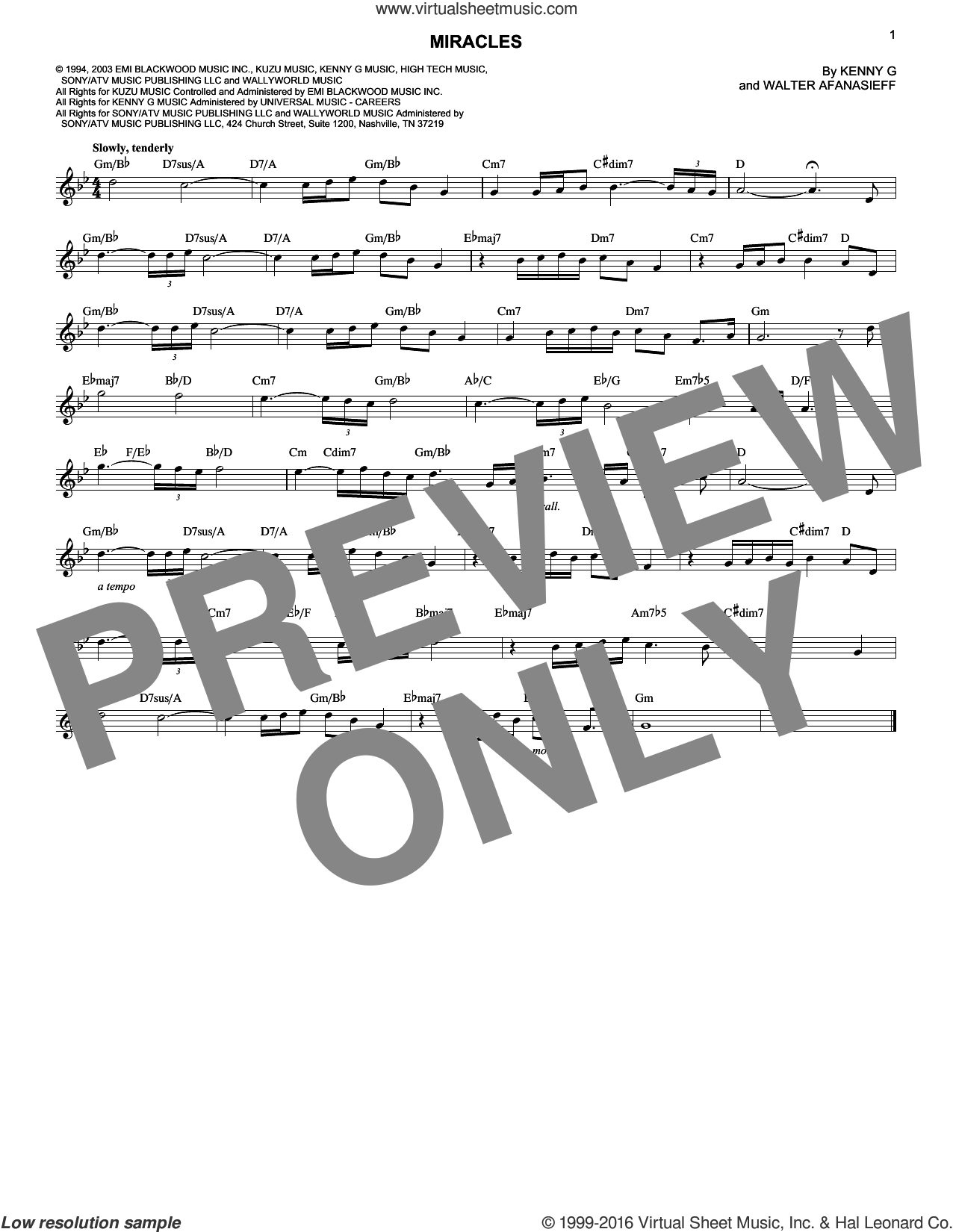 Miracles sheet music for voice and other instruments (fake book) by Walter Afanasieff and Kenny G. Score Image Preview.