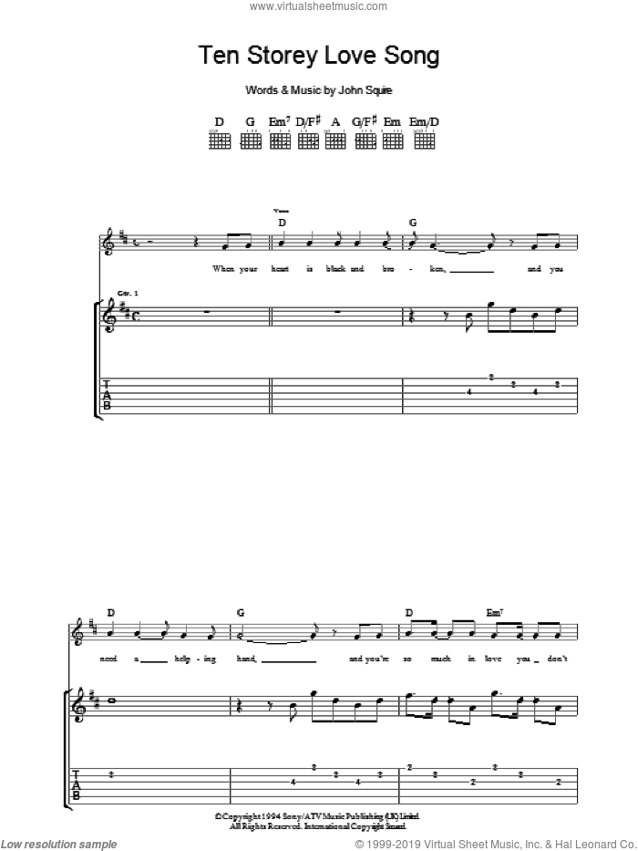Ten Storey Love Song sheet music for guitar (tablature) by The Stone Roses and John Squire, intermediate. Score Image Preview.