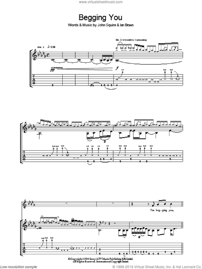 Begging You sheet music for guitar (tablature) by Ian Brown and John Squire. Score Image Preview.