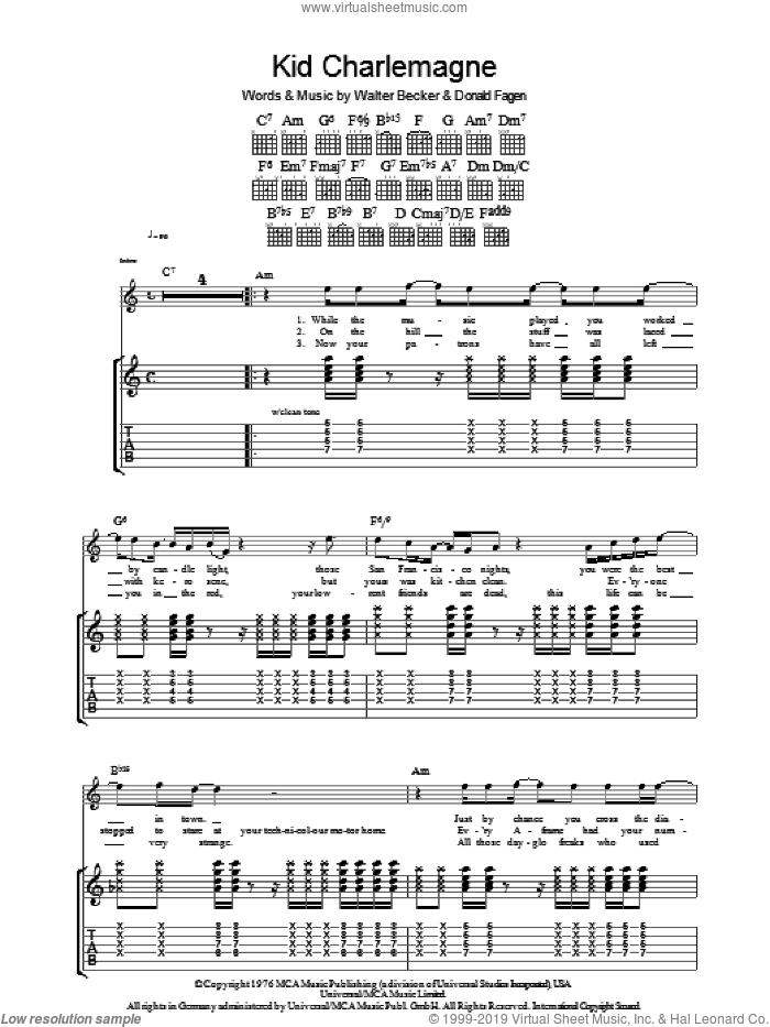 Kid Charlemagne sheet music for guitar (tablature) by Steely Dan, Donald Fagen and Walter Becker, intermediate skill level