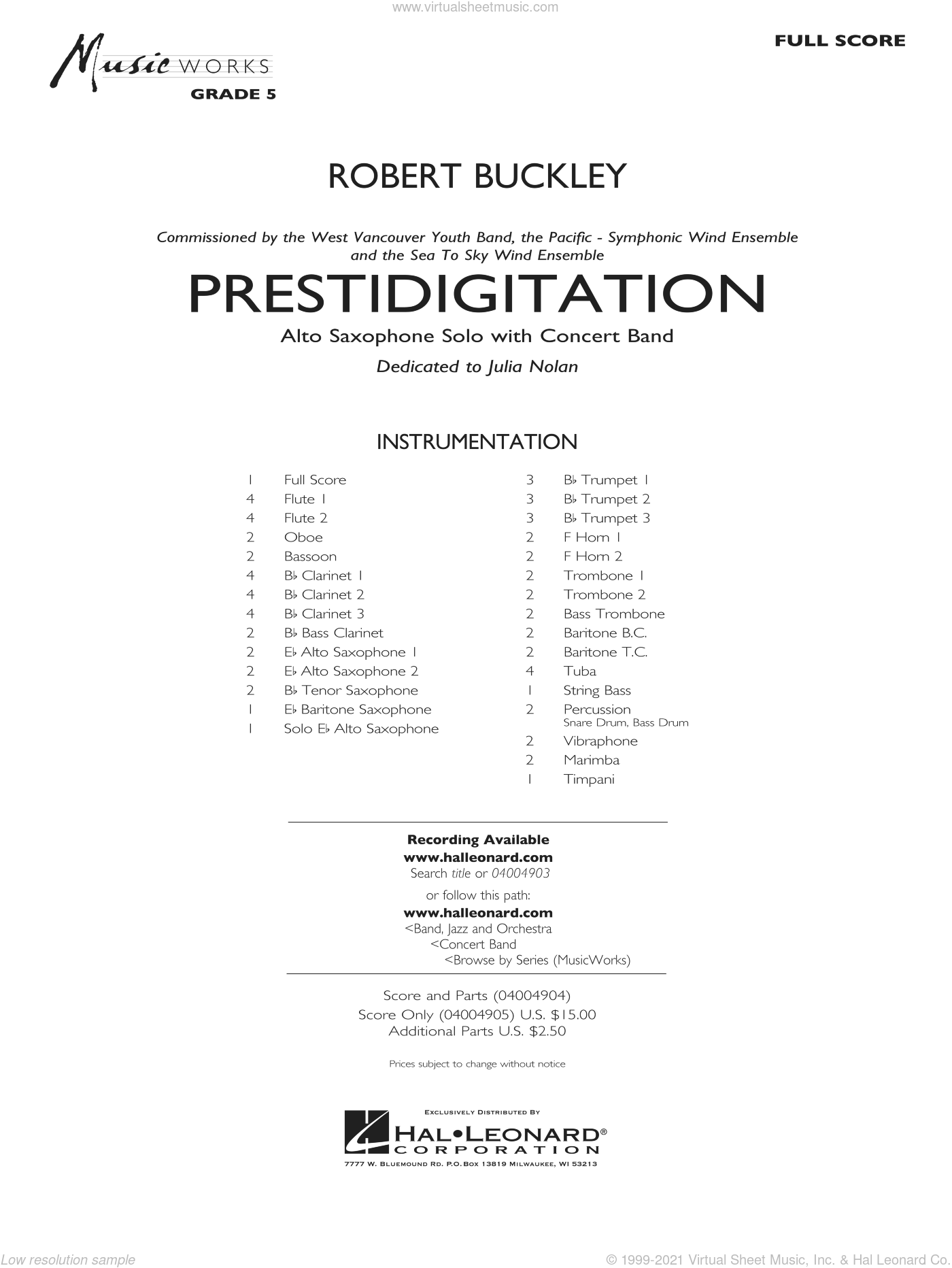 Prestidigitation (Alto Saxophone Solo with Band) sheet music for concert band (full score) by Robert Buckley, intermediate concert band (full score). Score Image Preview.