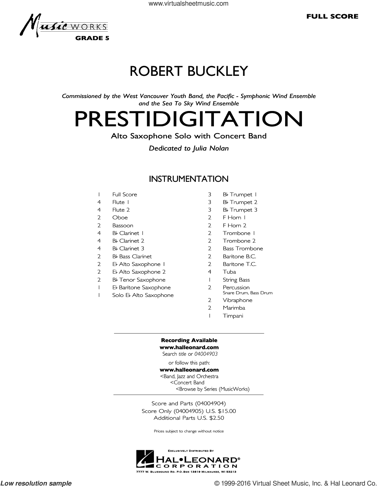 Prestidigitation (Alto Saxophone Solo with Band) (COMPLETE) sheet music for concert band by Robert Buckley, intermediate. Score Image Preview.