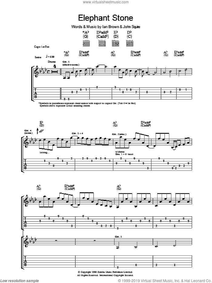 Elephant Stone sheet music for guitar (tablature) by The Stone Roses, Ian Brown and John Squire. Score Image Preview.
