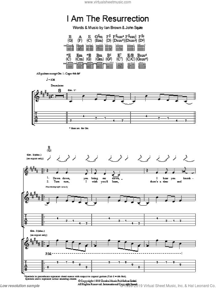 I Am The Resurrection sheet music for guitar (tablature) by Ian Brown and John Squire. Score Image Preview.