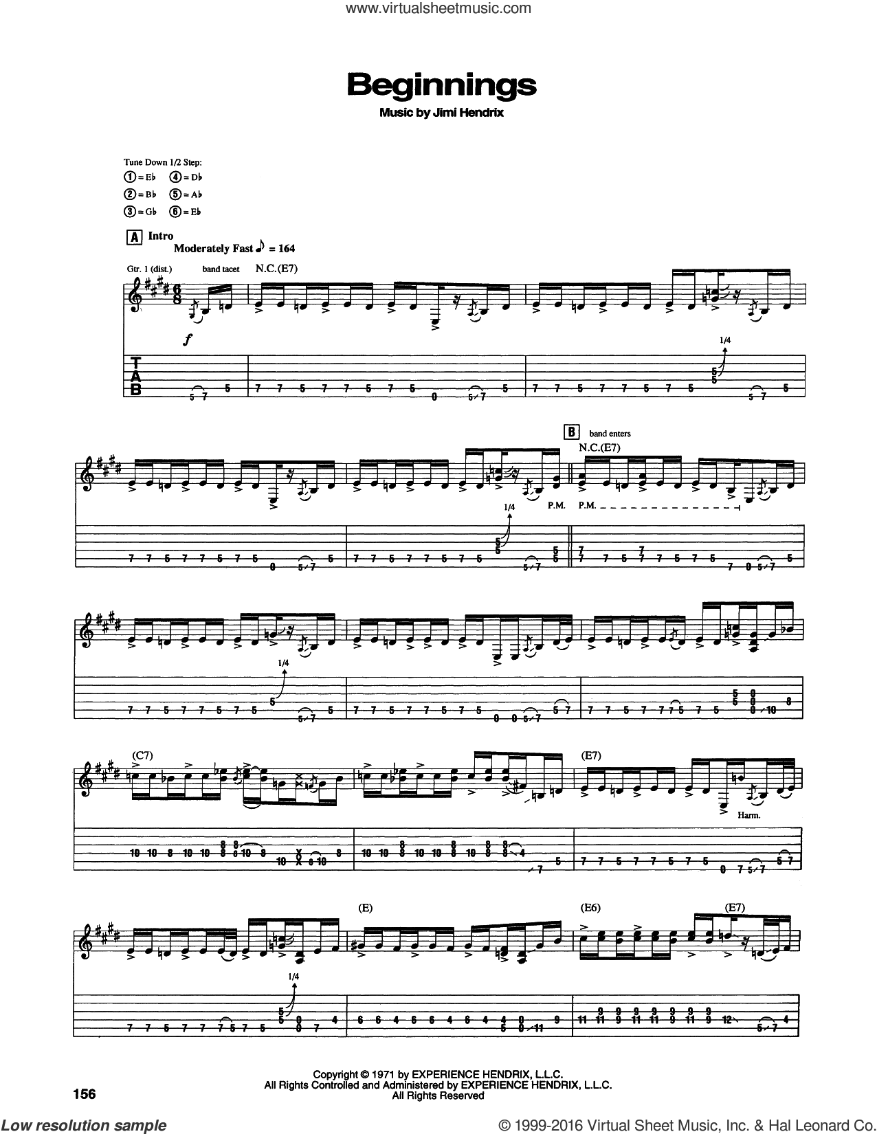 Beginnings sheet music for guitar (tablature) by Jimi Hendrix. Score Image Preview.