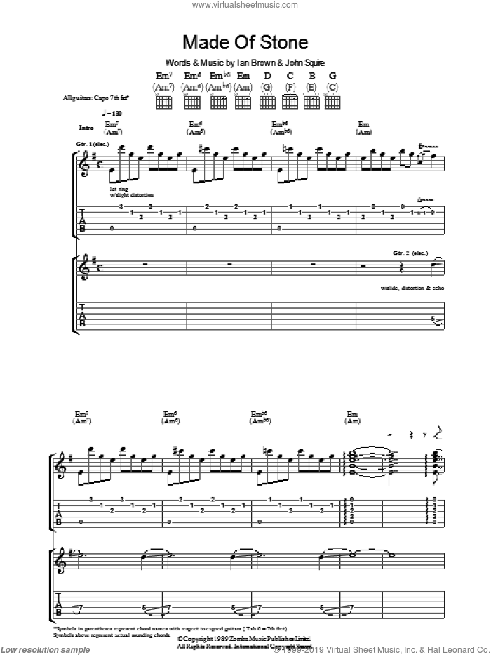 Made Of Stone sheet music for guitar (tablature) by The Stone Roses, Ian Brown and John Squire. Score Image Preview.