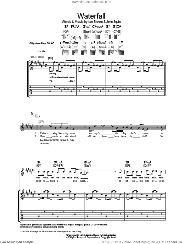 Waterfall sheet music for guitar (tablature) by The Stone Roses, Ian Brown and John Squire. Score Image Preview.