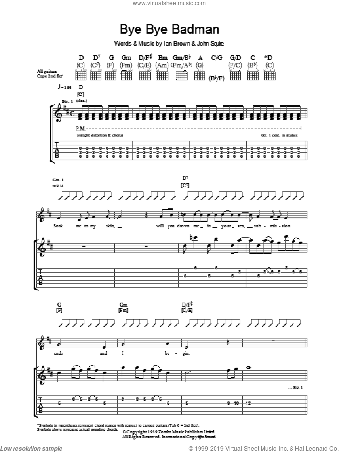 Bye Bye Badman sheet music for guitar (tablature) by The Stone Roses, Ian Brown and John Squire, intermediate skill level