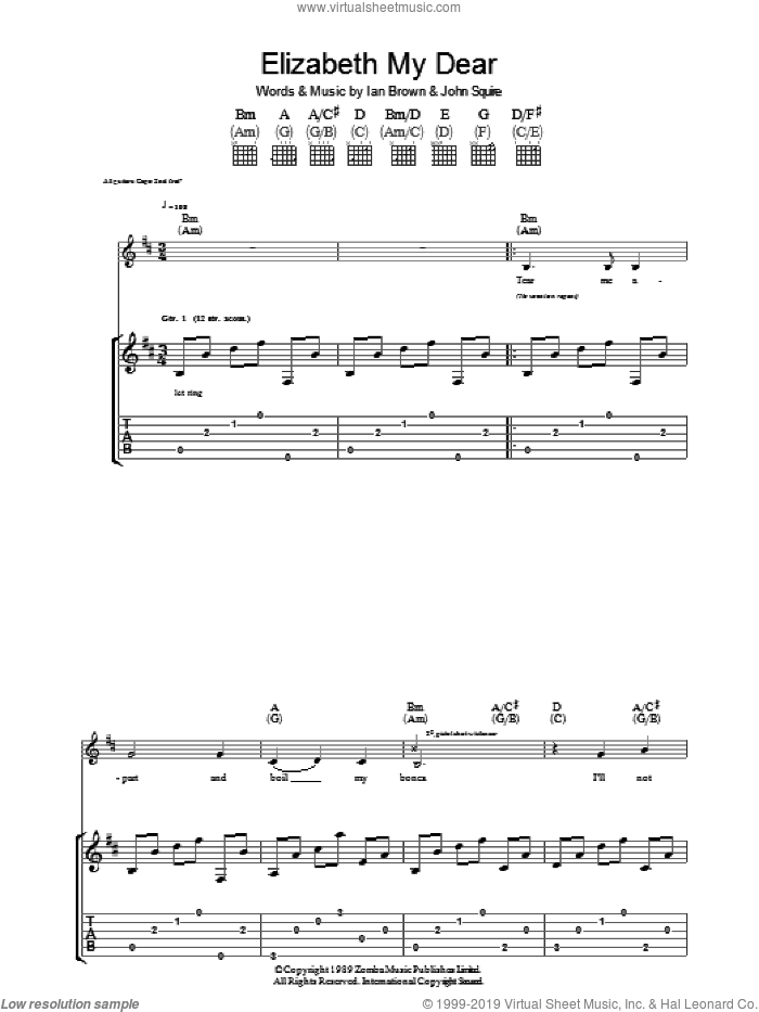 Elizabeth My Dear sheet music for guitar (tablature) by The Stone Roses, Ian Brown and John Squire, intermediate guitar (tablature). Score Image Preview.