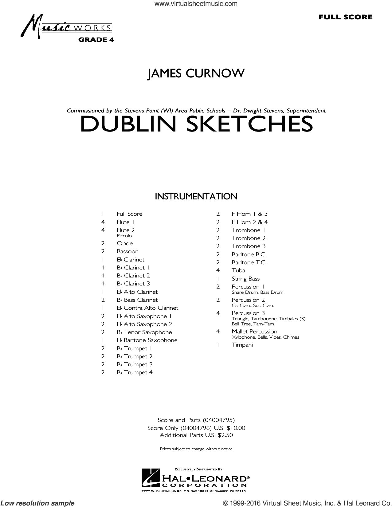 Dublin Sketches sheet music for concert band (full score) by James Curnow. Score Image Preview.