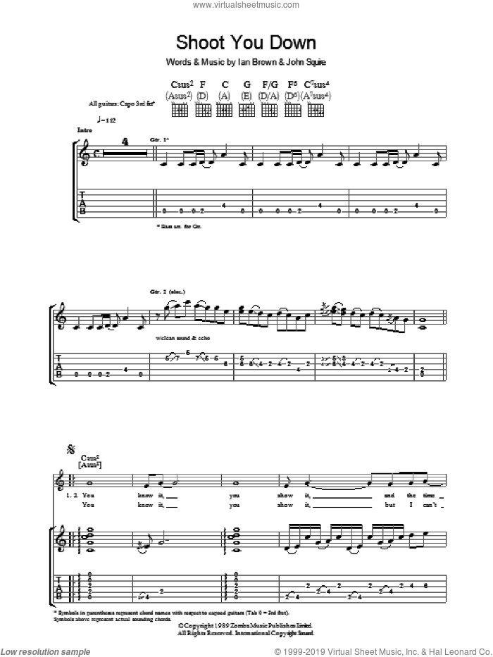 Shoot You Down sheet music for guitar (tablature) by Ian Brown and John Squire. Score Image Preview.