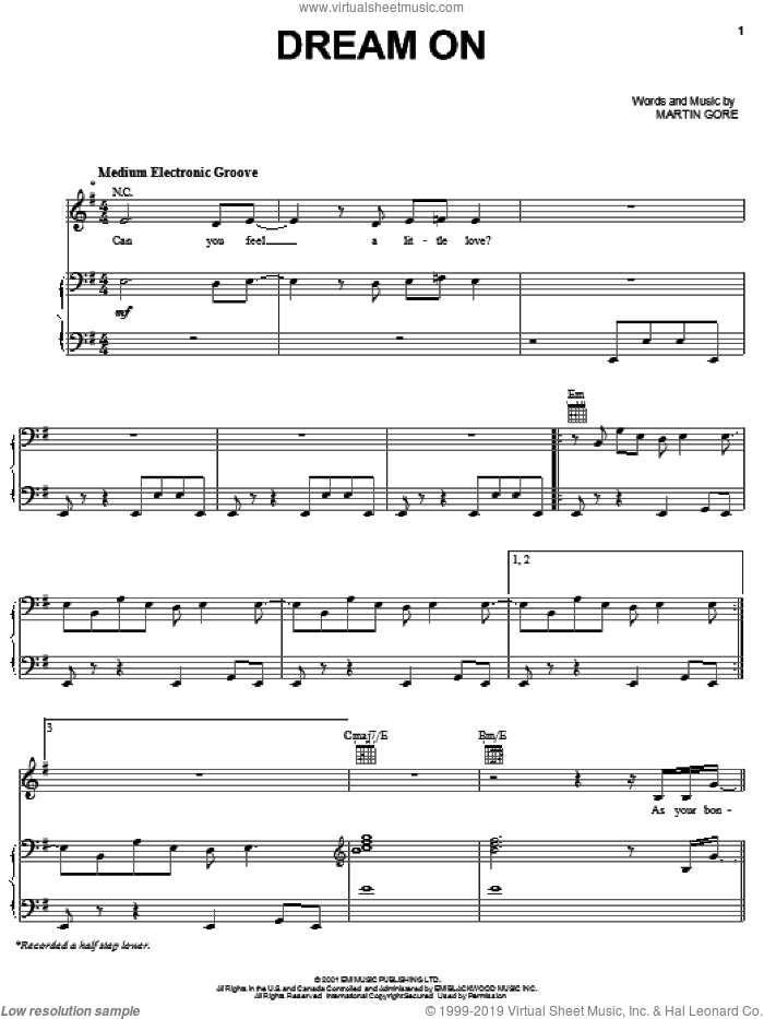 Dream On sheet music for voice, piano or guitar by Depeche Mode and Martin Gore, intermediate skill level