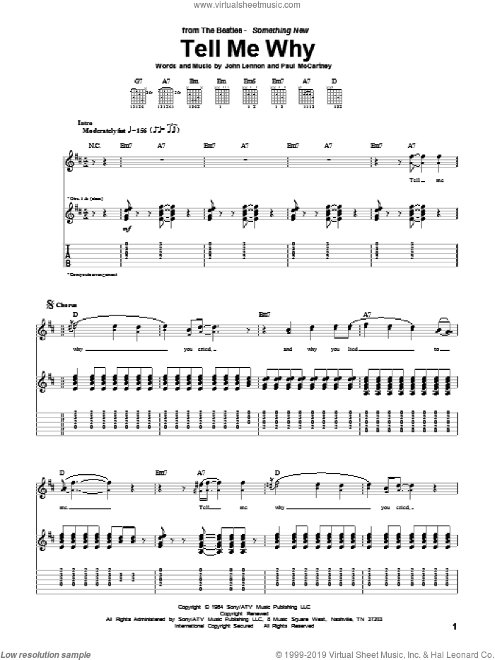Tell Me Why sheet music for guitar (tablature) by Paul McCartney, The Beatles and John Lennon. Score Image Preview.