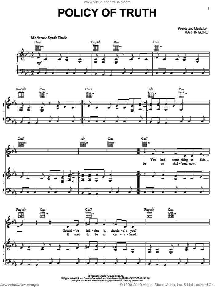 Policy Of Truth sheet music for voice, piano or guitar by Martin Gore. Score Image Preview.