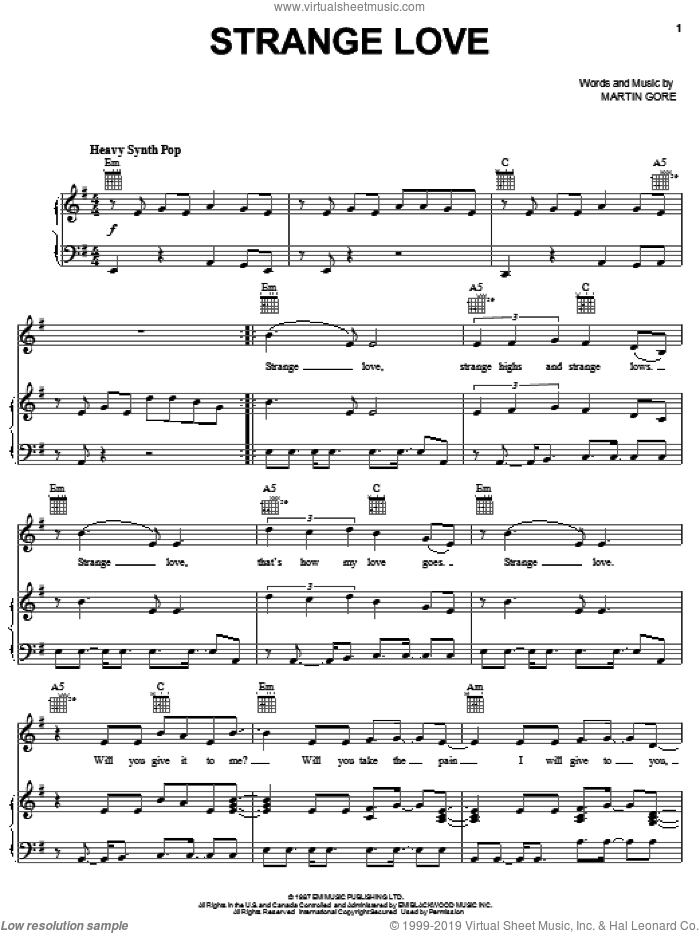 Strange Love sheet music for voice, piano or guitar by Depeche Mode and Martin Gore, intermediate skill level