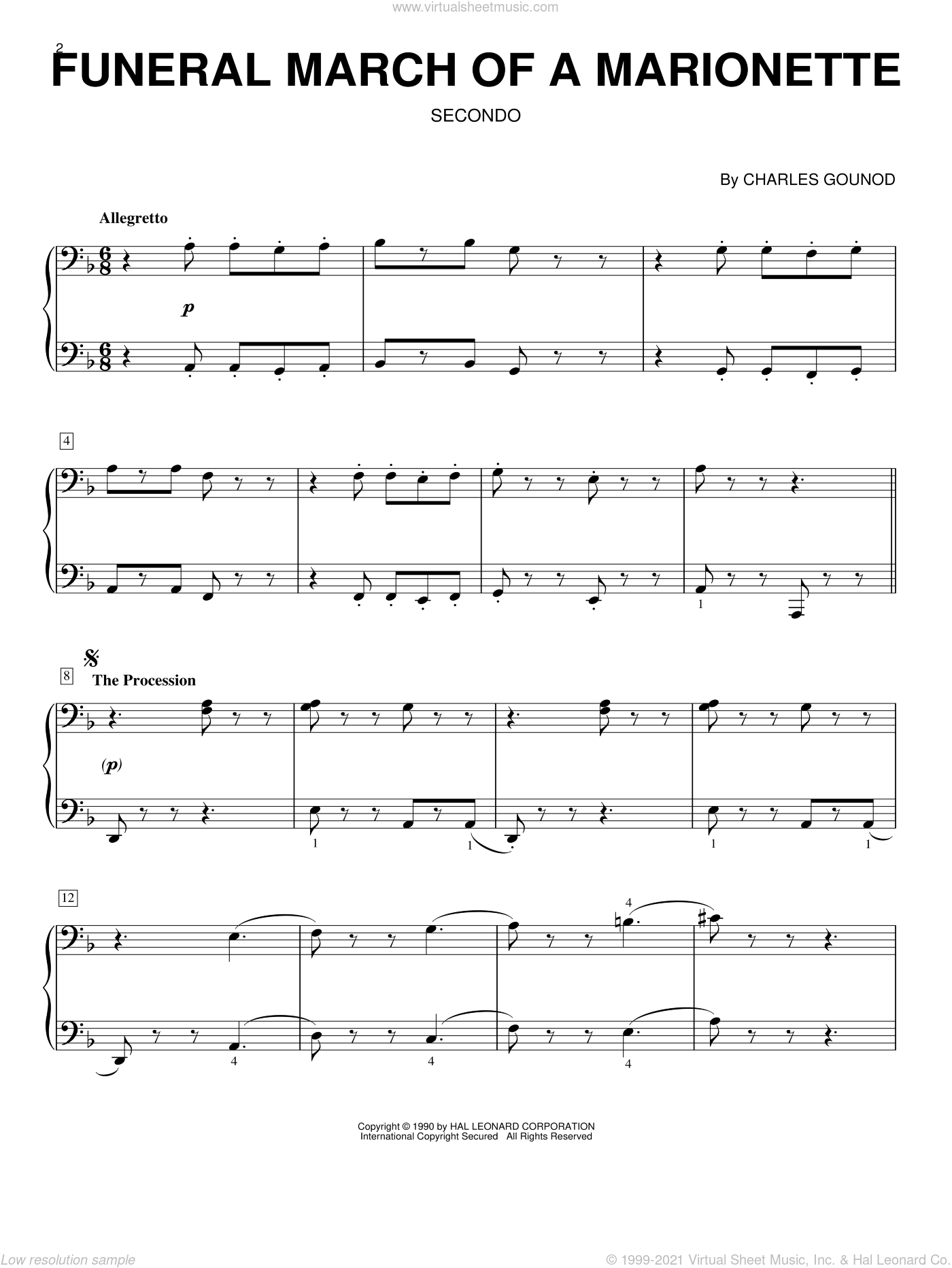 Funeral March Of A Marionette sheet music for piano four hands by Charles Gounod, classical score, intermediate skill level