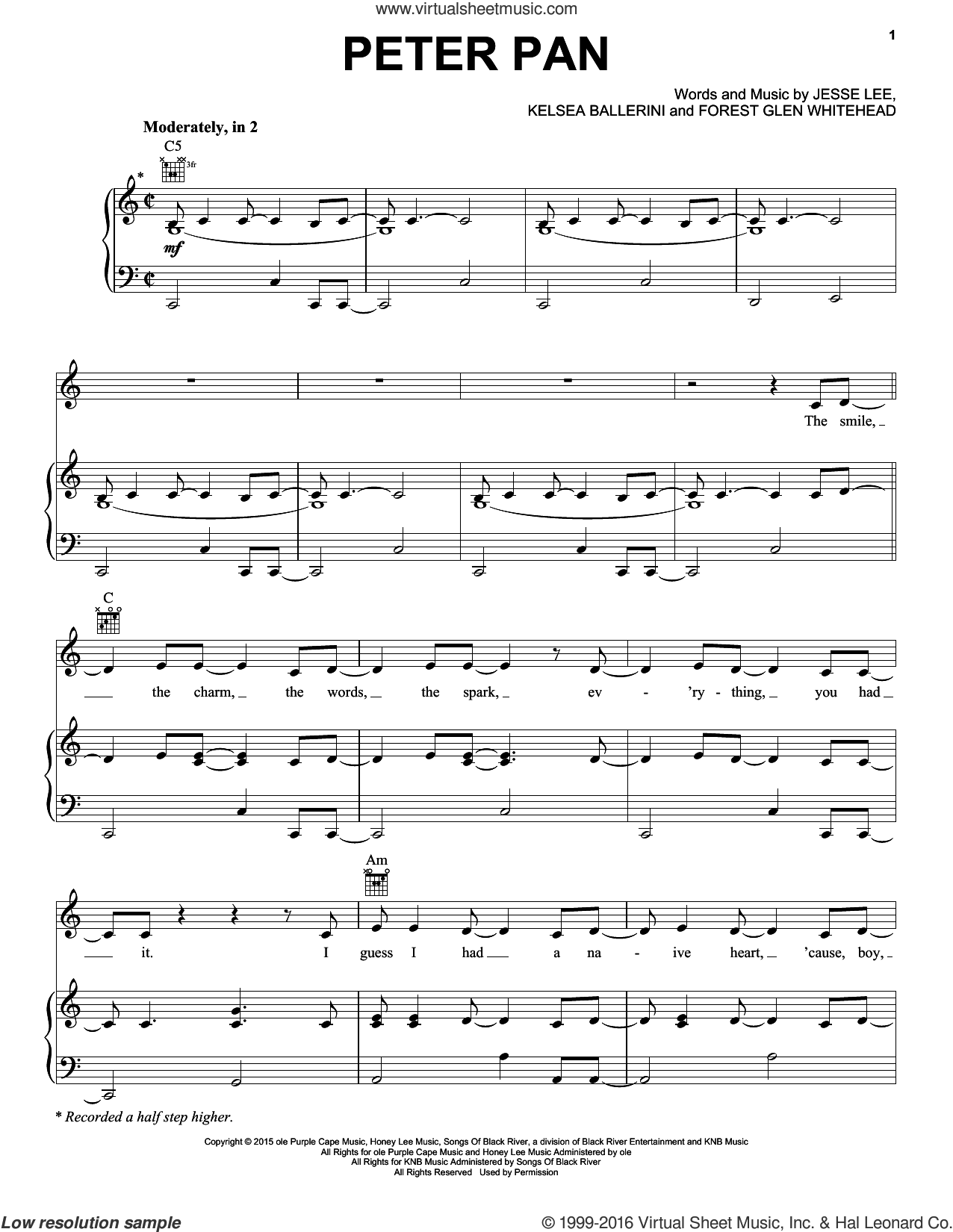 Peter Pan sheet music for voice, piano or guitar by Kelsea Ballerini, intermediate voice, piano or guitar. Score Image Preview.