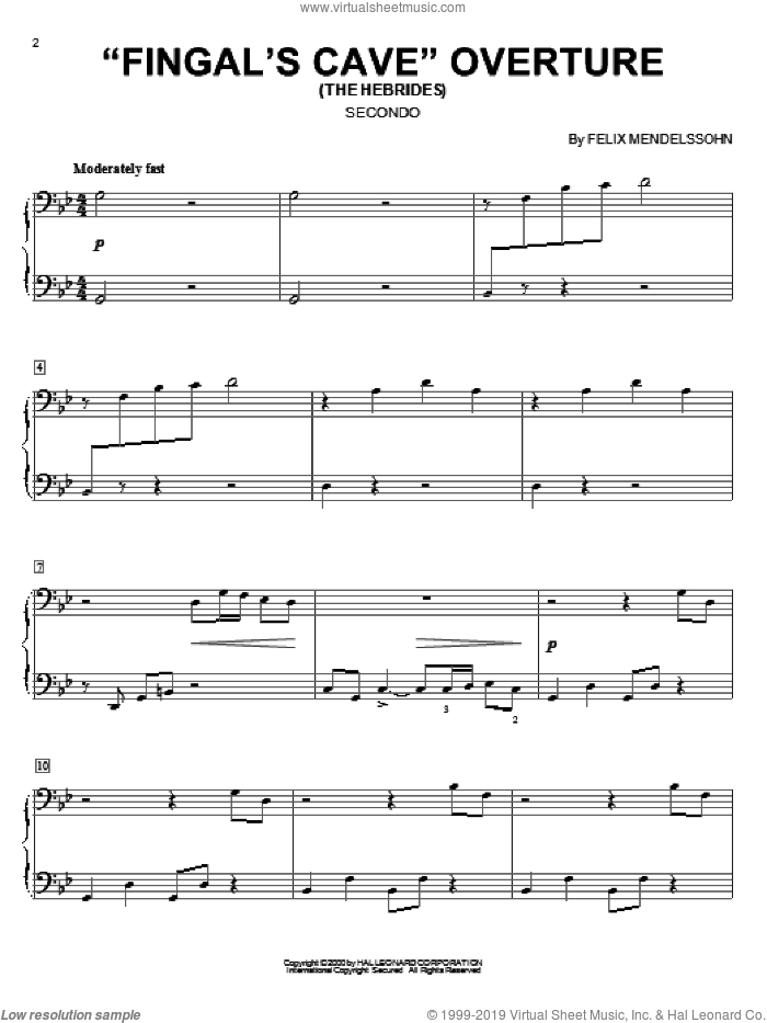 Fingal's Cave Overture sheet music for piano four hands (duets) by Felix Mendelssohn-Bartholdy. Score Image Preview.