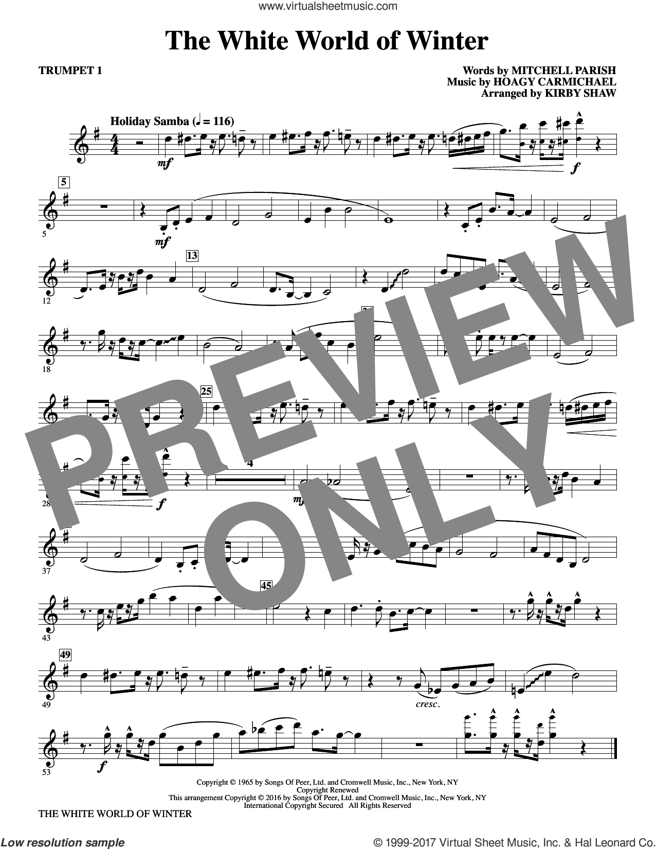 The White World of Winter (complete set of parts) sheet music for orchestra/band by Kirby Shaw, Hoagy Carmichael and Mitchell Parish, Christmas carol score, intermediate orchestra/band. Score Image Preview.