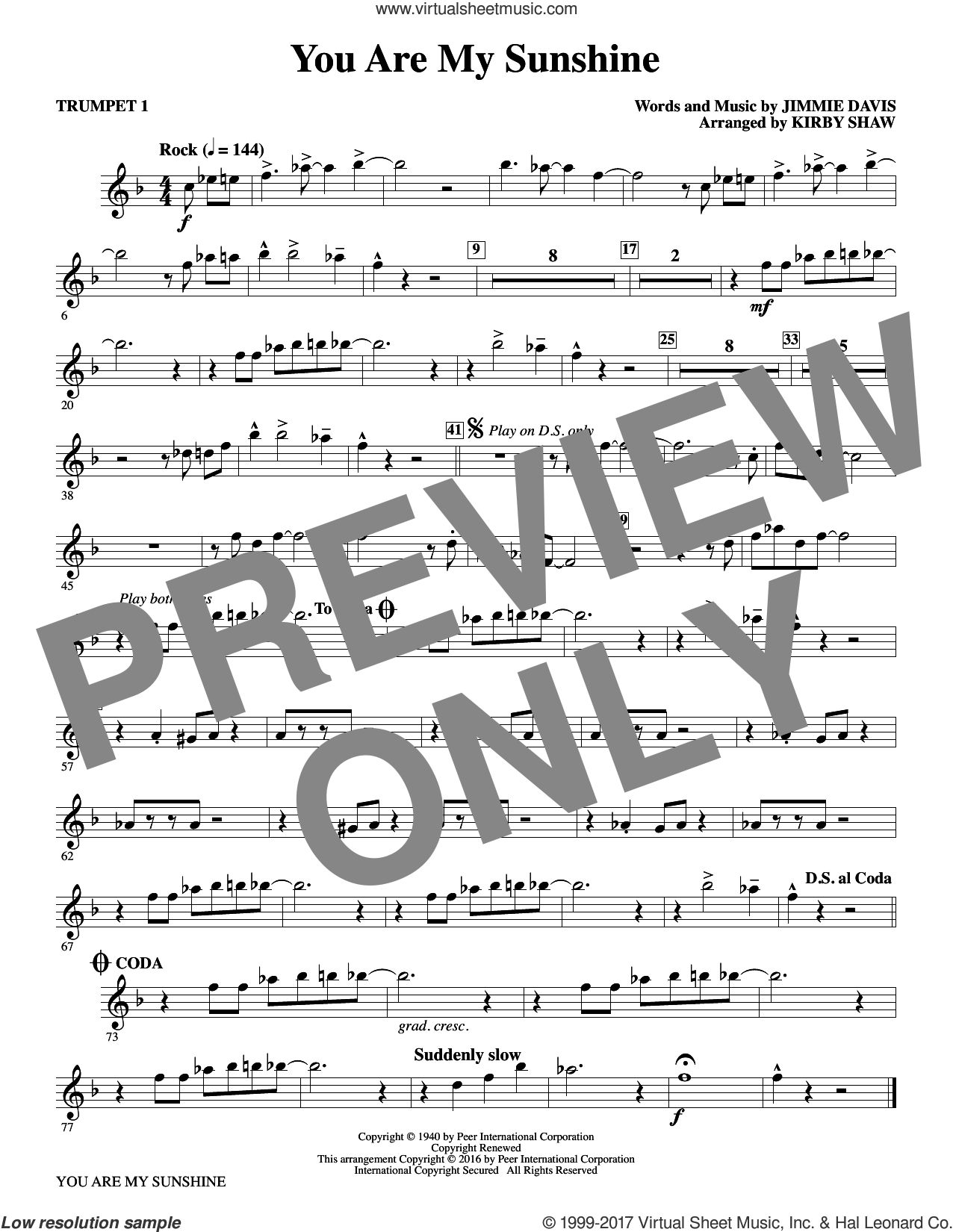 You Are My Sunshine (complete set of parts) sheet music for orchestra/band by Kirby Shaw, Duane Eddy, Jimmie Davis and Ray Charles, intermediate skill level