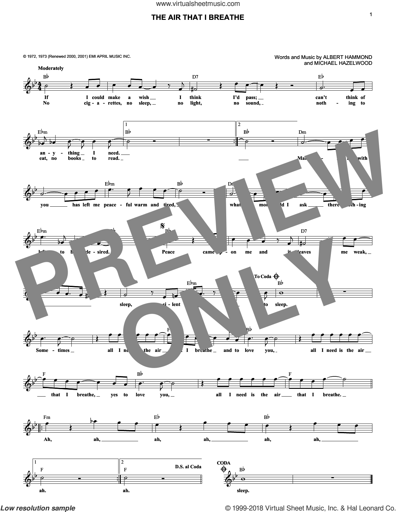 The Air That I Breathe sheet music for voice and other instruments (fake book) by The Hollies, Albert Hammond and Michael Hazlewood, intermediate. Score Image Preview.