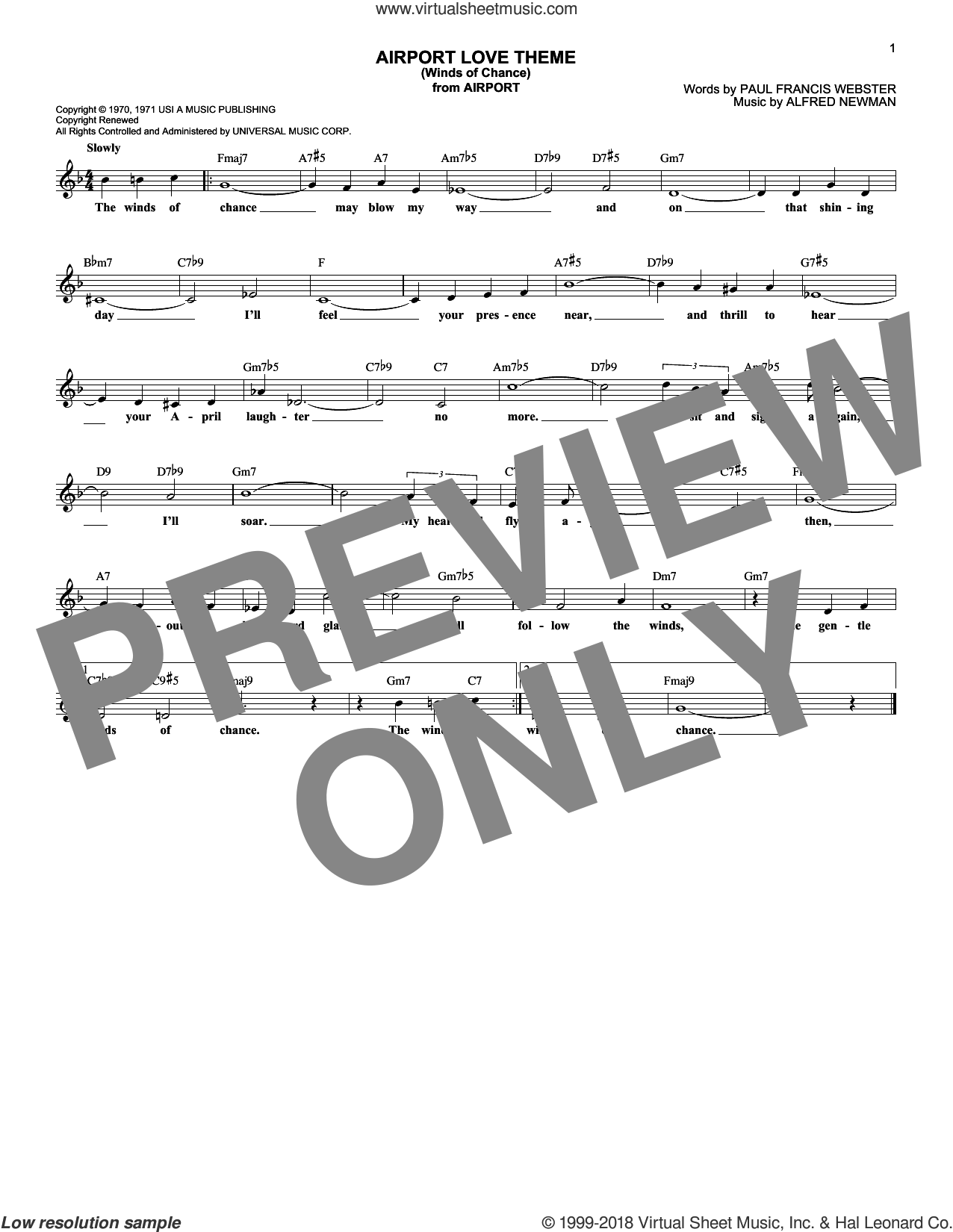 Airport Love Theme (Winds Of Chance) sheet music for voice and other instruments (fake book) by Paul Francis Webster and Alfred Newman. Score Image Preview.