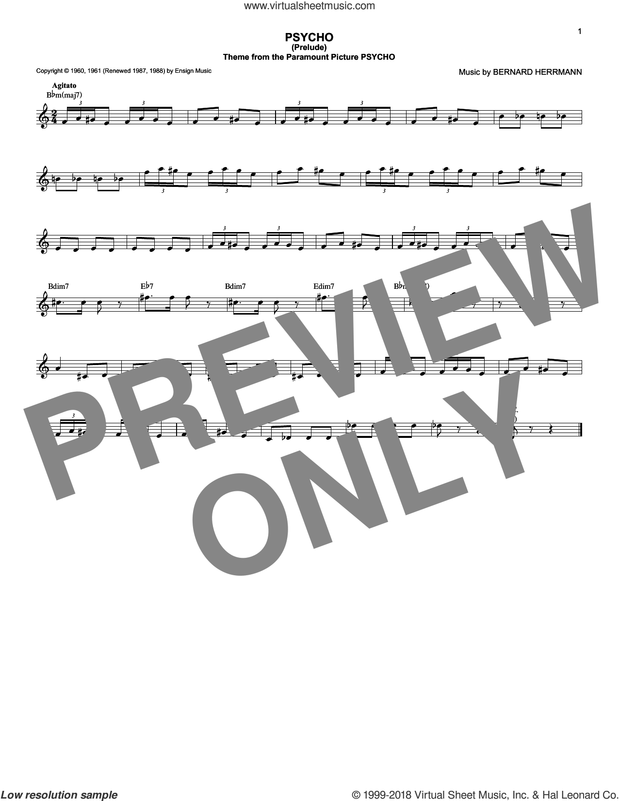 Psycho (Prelude) sheet music for voice and other instruments (fake book) by Bernard Herrmann. Score Image Preview.