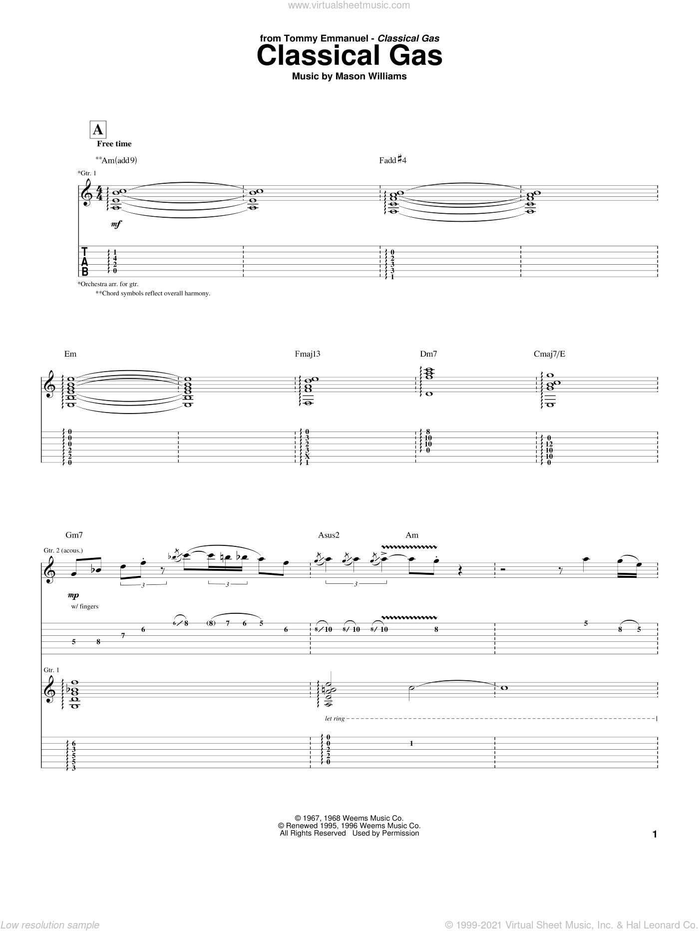 Classical Gas sheet music for guitar (tablature) by Tommy Emmanuel and Mason Williams, classical score, intermediate skill level
