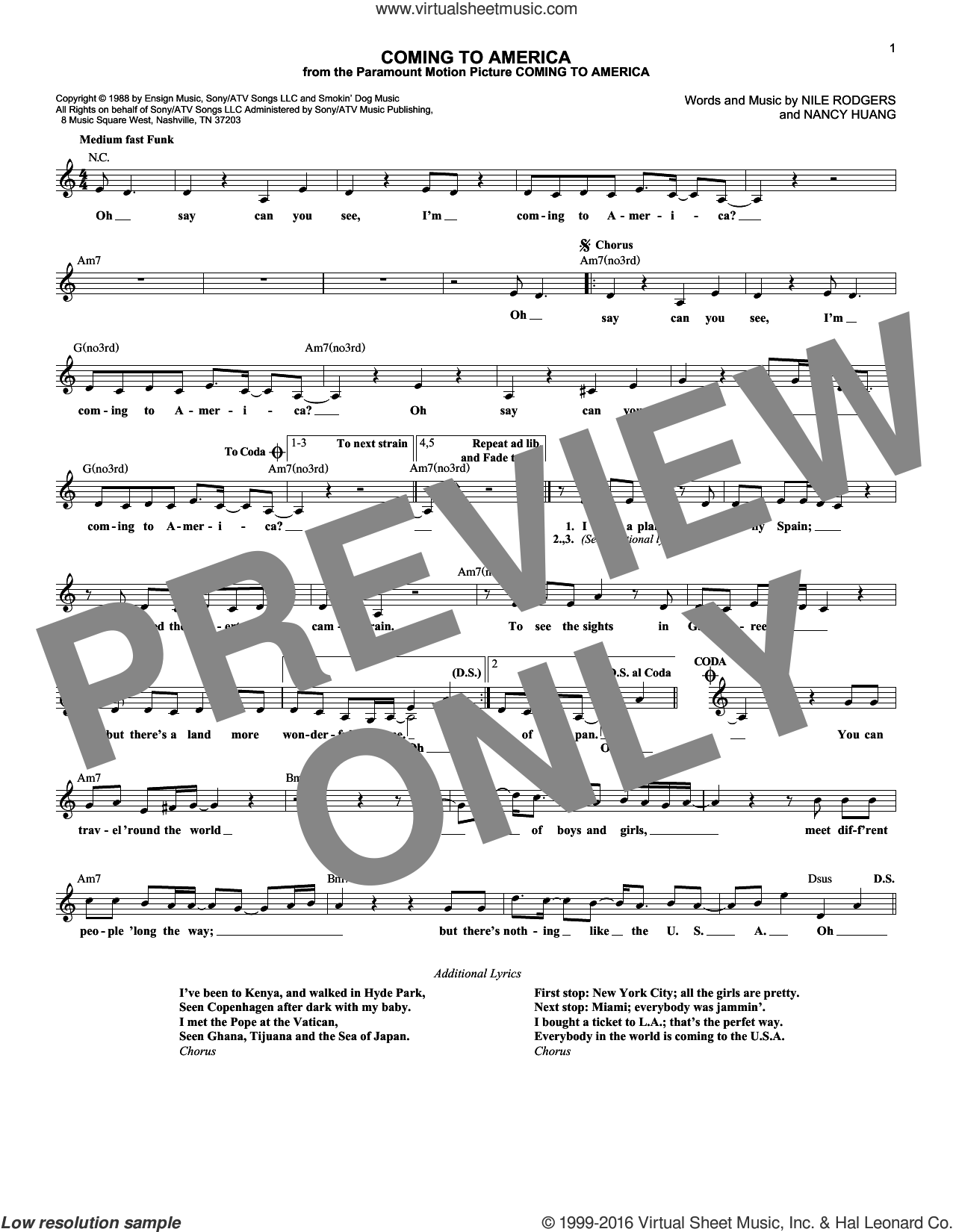 Coming To America sheet music for voice and other instruments (fake book) by Nile Rodgers and Nancy Huang, intermediate skill level