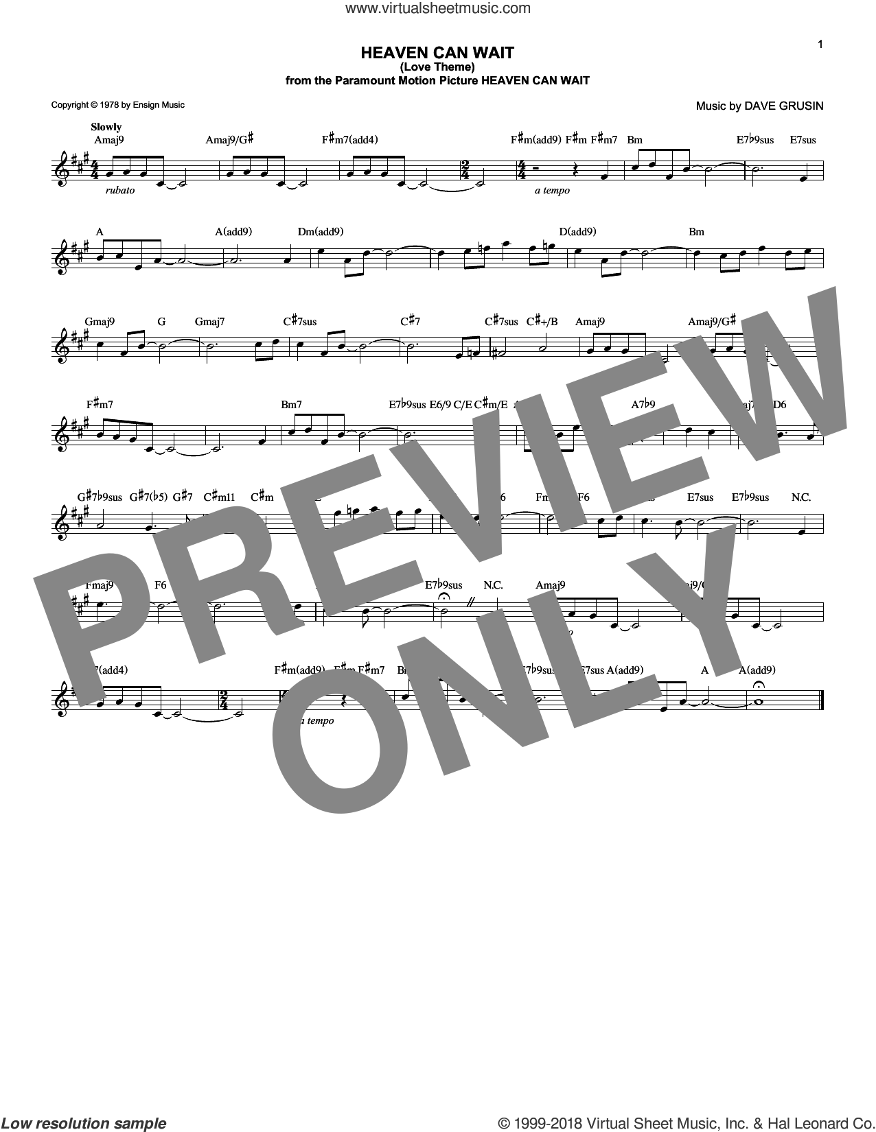 Heaven Can Wait (Love Theme) sheet music for voice and other instruments (fake book) by Dave Grusin, intermediate skill level