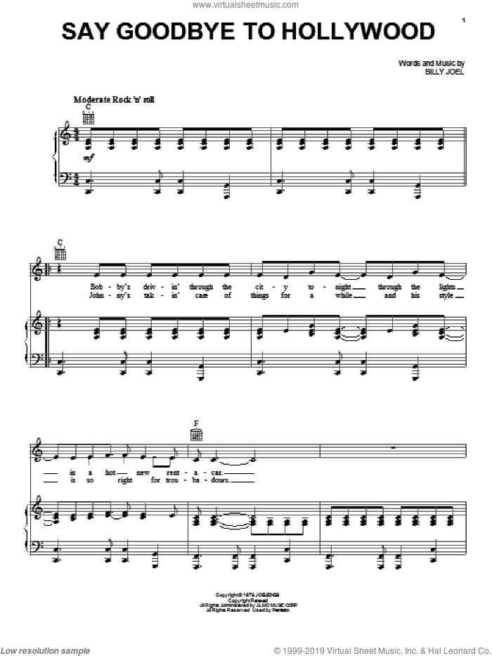 Say Goodbye To Hollywood sheet music for voice, piano or guitar by Billy Joel, intermediate. Score Image Preview.