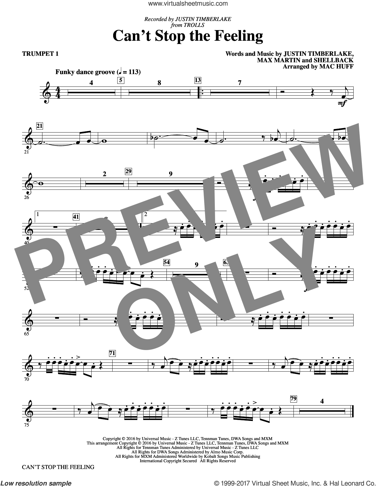 Can't Stop the Feeling (complete set of parts) sheet music for orchestra/band by Mac Huff, Johan Schuster, Justin Timberlake, Max Martin and Shellback, intermediate skill level