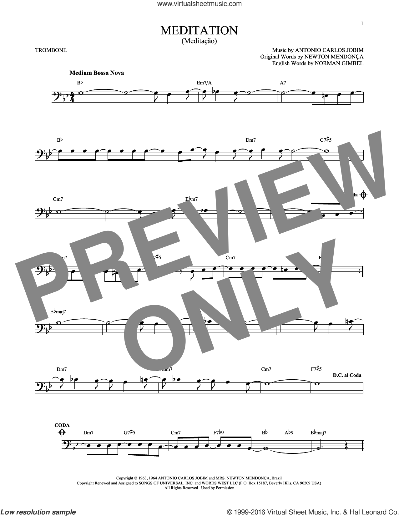 Meditation (Meditacao) sheet music for trombone solo by Norman Gimbel, Charlie Byrd w/The Walter Raim Strings, Antonio Carlos Jobim, Newton Mendonça and Newton Mendonca, intermediate skill level