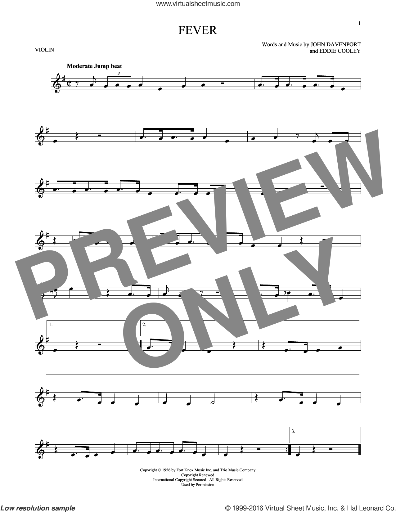 Fever sheet music for violin solo by Eddie Cooley, Peggy Lee and John Davenport, intermediate skill level