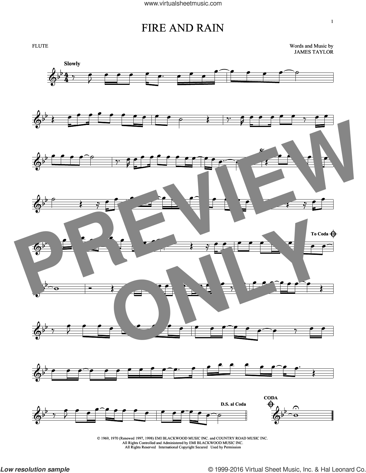 Fire And Rain sheet music for flute solo by James Taylor, intermediate. Score Image Preview.