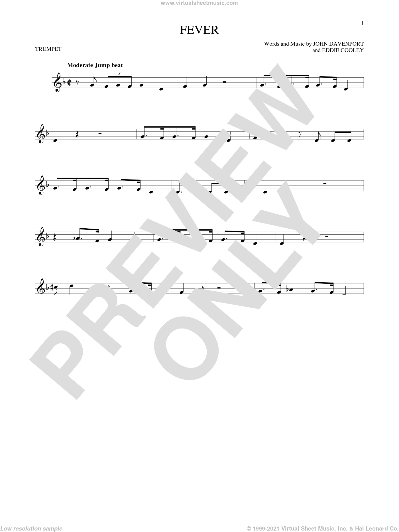 Fever sheet music for trumpet solo by Eddie Cooley and Peggy Lee, intermediate. Score Image Preview.