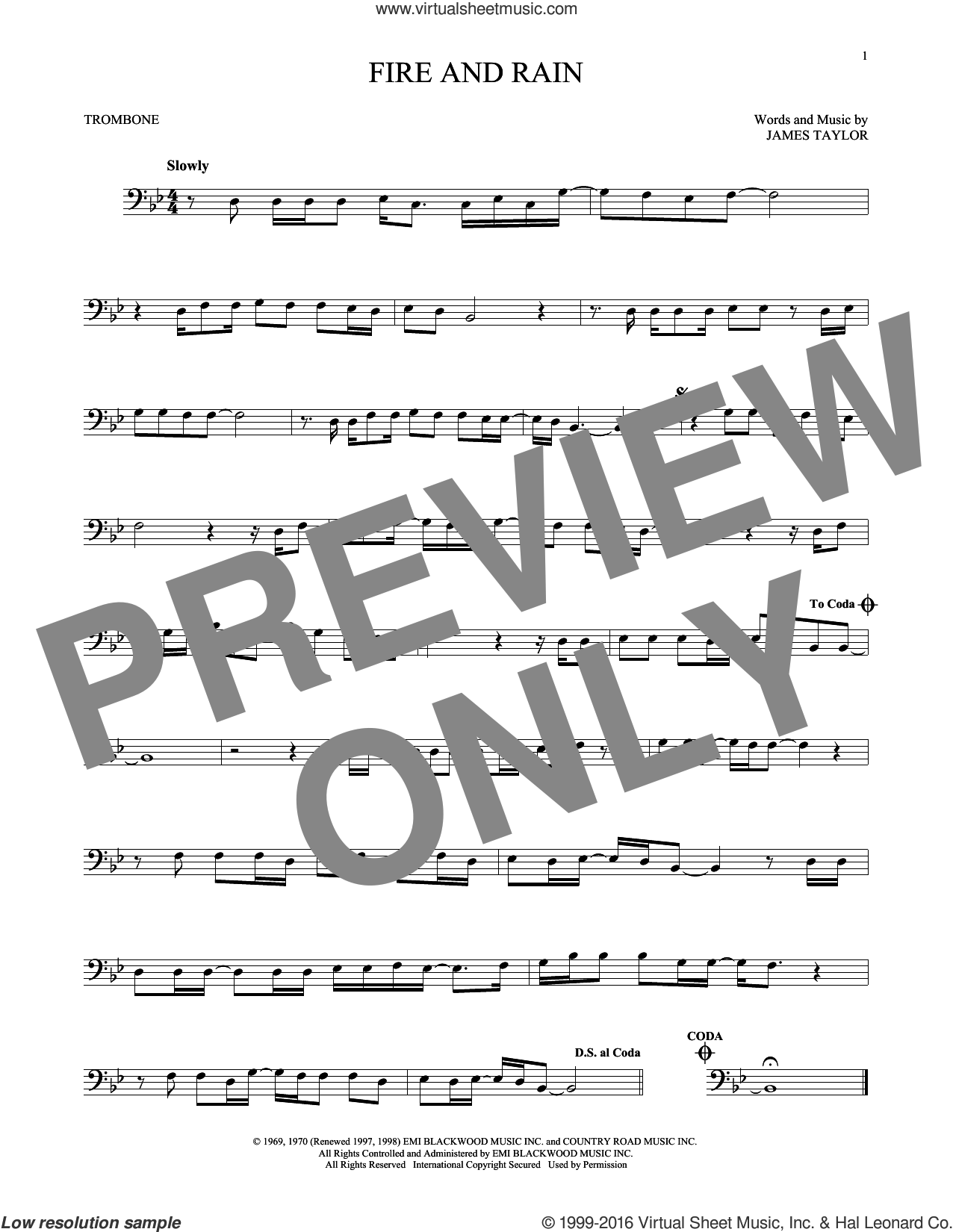 Fire And Rain sheet music for trombone solo by James Taylor, intermediate skill level