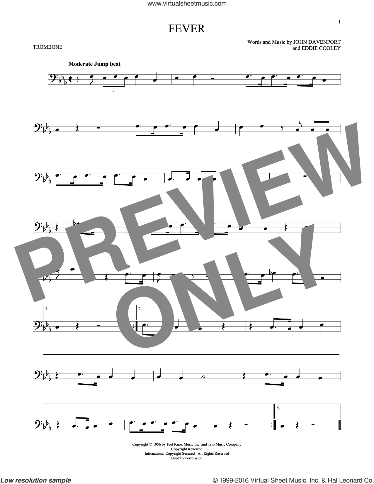 Fever sheet music for trombone solo by Eddie Cooley and Peggy Lee. Score Image Preview.