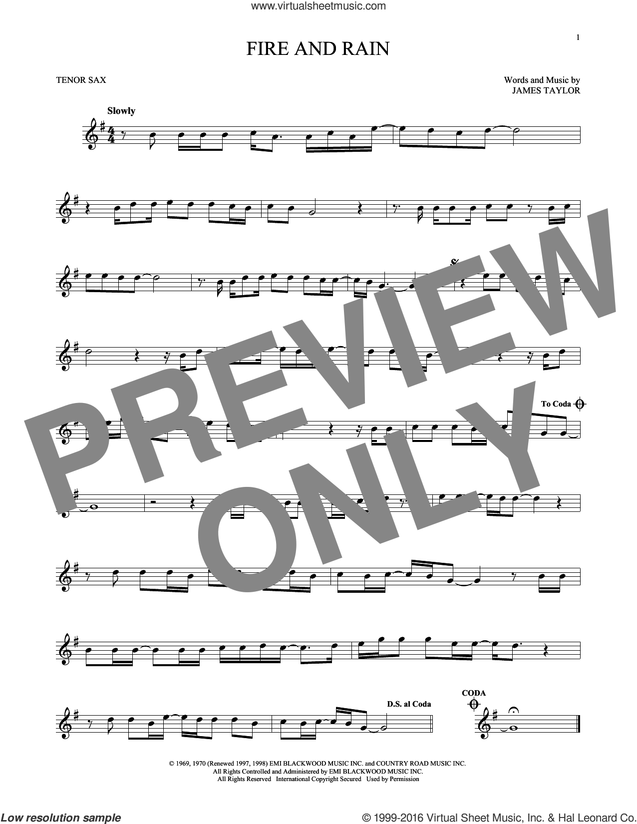 Fire And Rain sheet music for tenor saxophone solo by James Taylor. Score Image Preview.