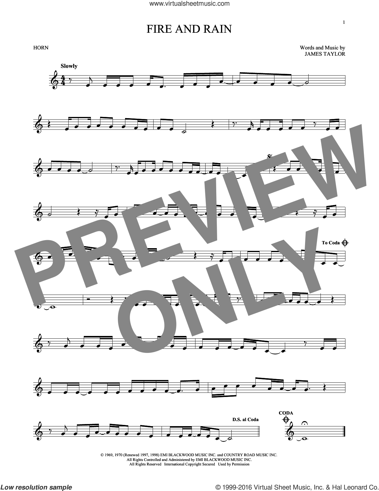 Fire And Rain sheet music for horn solo by James Taylor, intermediate. Score Image Preview.