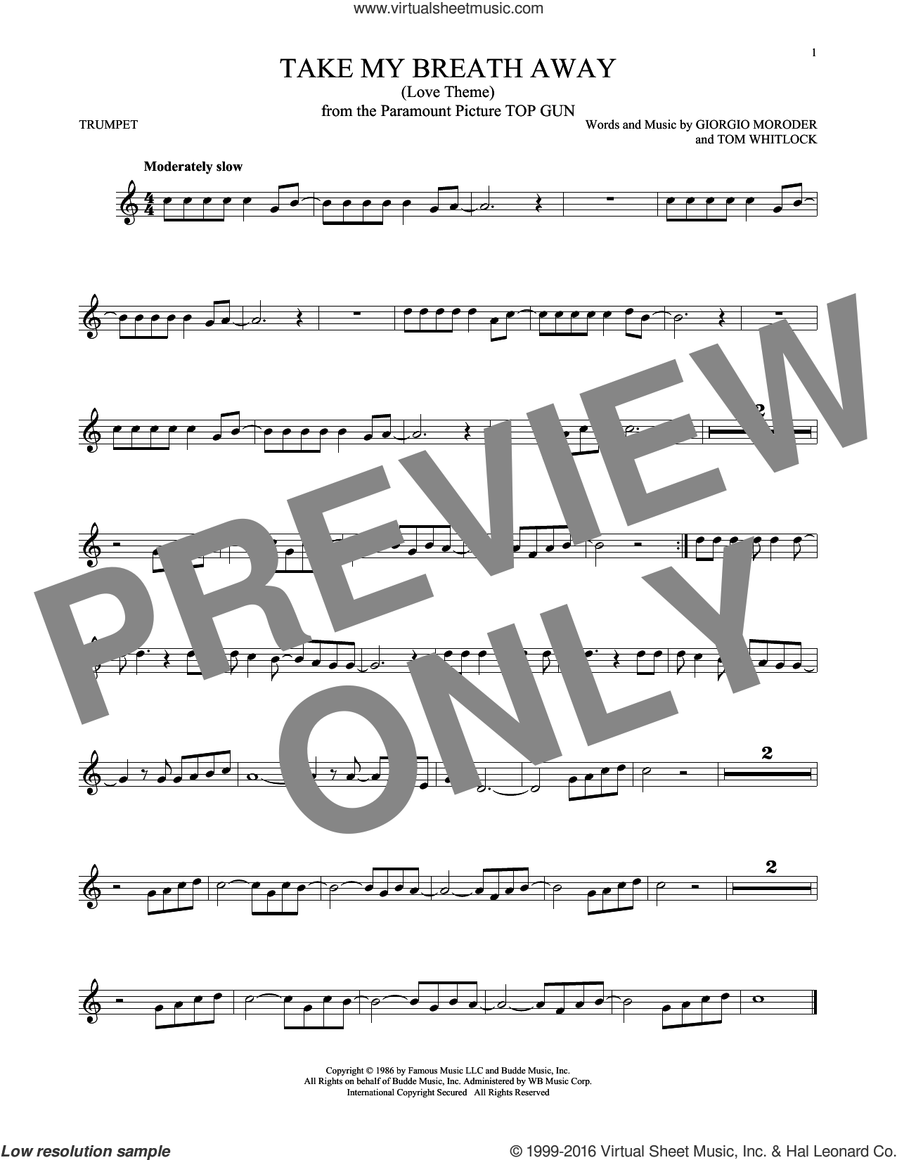 Take My Breath Away (Love Theme) sheet music for trumpet solo by Giorgio Moroder, Irving Berlin, Jessica Simpson and Tom Whitlock, intermediate skill level
