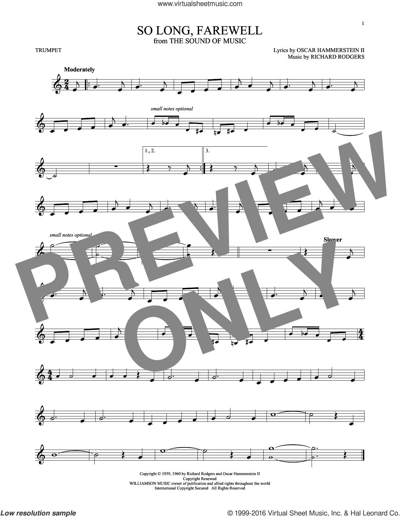 So Long, Farewell sheet music for trumpet solo by Rodgers & Hammerstein, Oscar II Hammerstein and Richard Rodgers, intermediate trumpet. Score Image Preview.