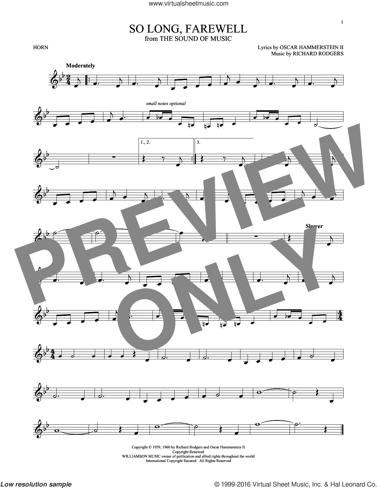 So Long, Farewell sheet music for horn solo by Rodgers & Hammerstein, Oscar II Hammerstein and Richard Rodgers, intermediate. Score Image Preview.