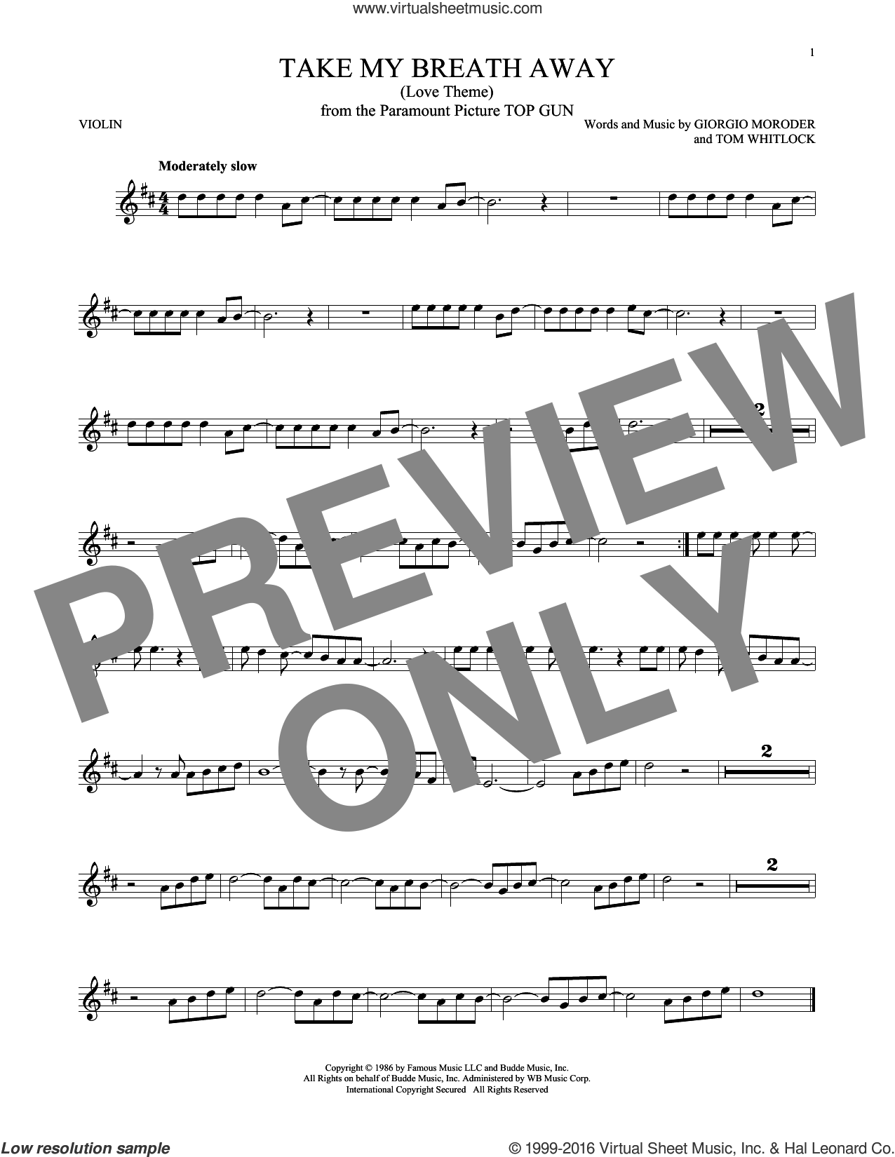 Take My Breath Away (Love Theme) sheet music for violin solo by Giorgio Moroder, Berlin, Jessica Simpson and Tom Whitlock, intermediate. Score Image Preview.