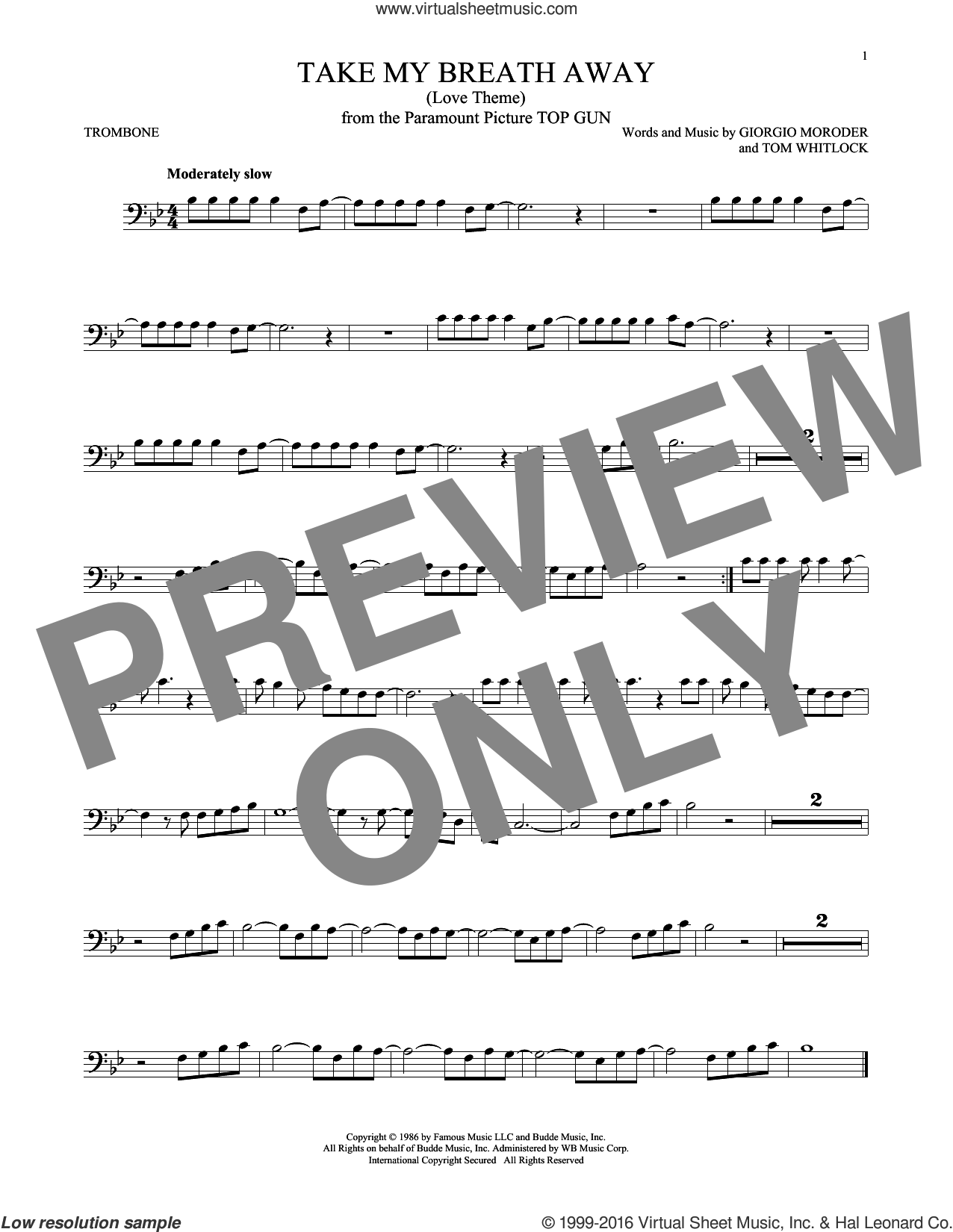 Take My Breath Away (Love Theme) sheet music for trombone solo by Giorgio Moroder, Irving Berlin, Jessica Simpson and Tom Whitlock, intermediate skill level