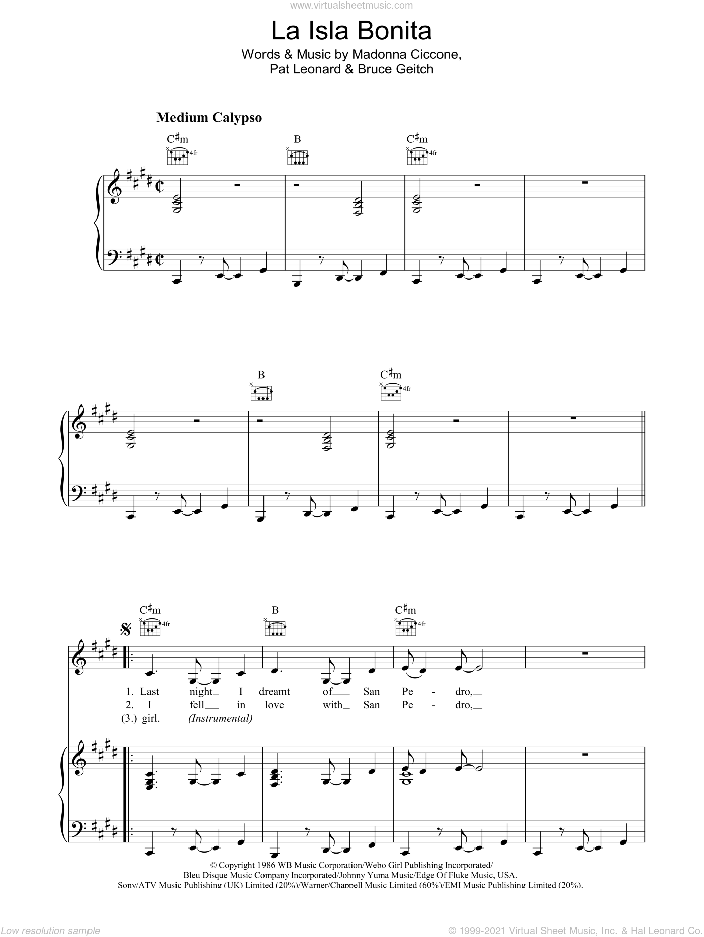 La Isla Bonita sheet music for voice, piano or guitar by Madonna, Bruce Gaitsch and Patrick Leonard, intermediate skill level