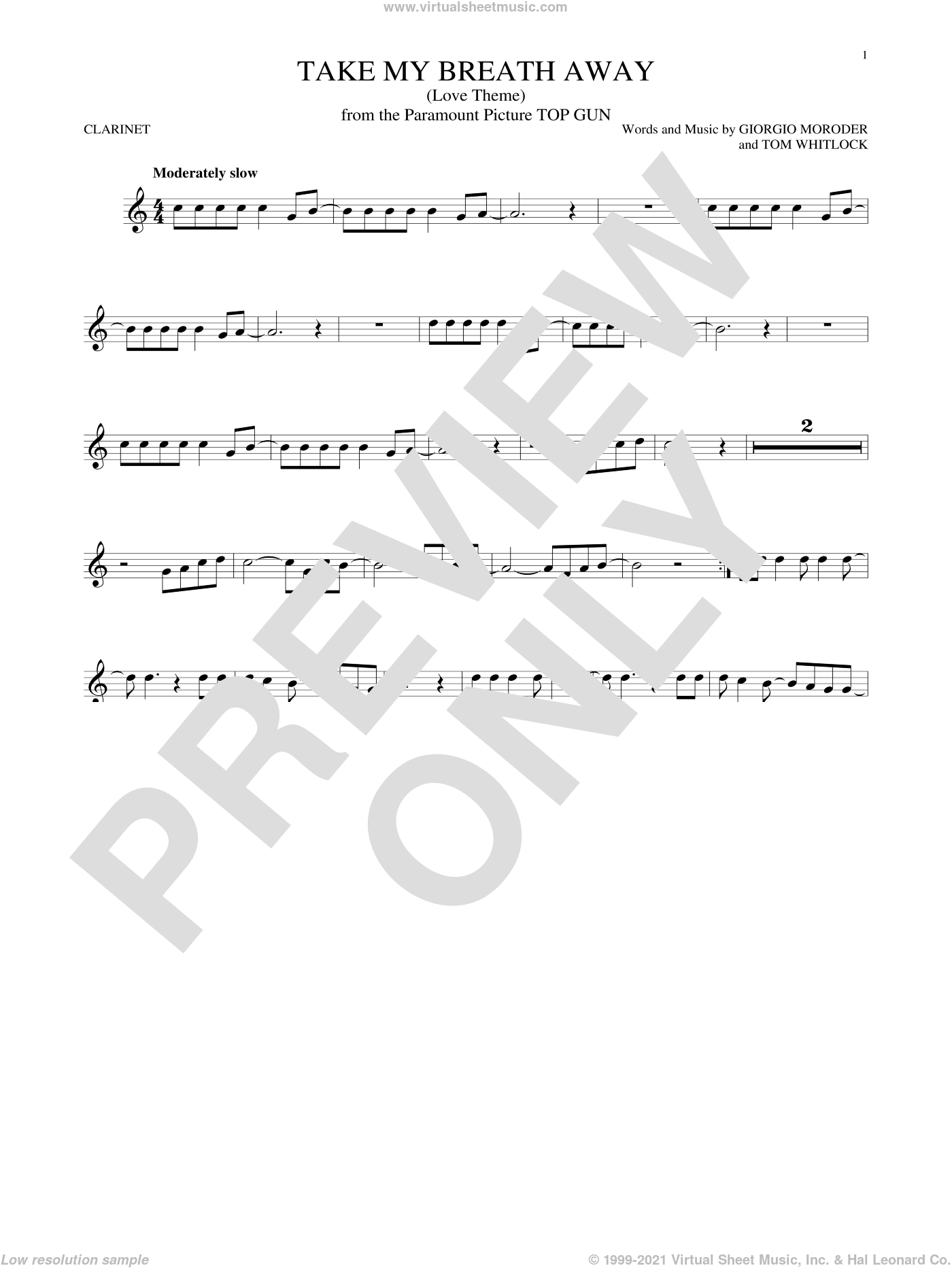Take My Breath Away (Love Theme) sheet music for clarinet solo by Giorgio Moroder, Berlin and Jessica Simpson. Score Image Preview.