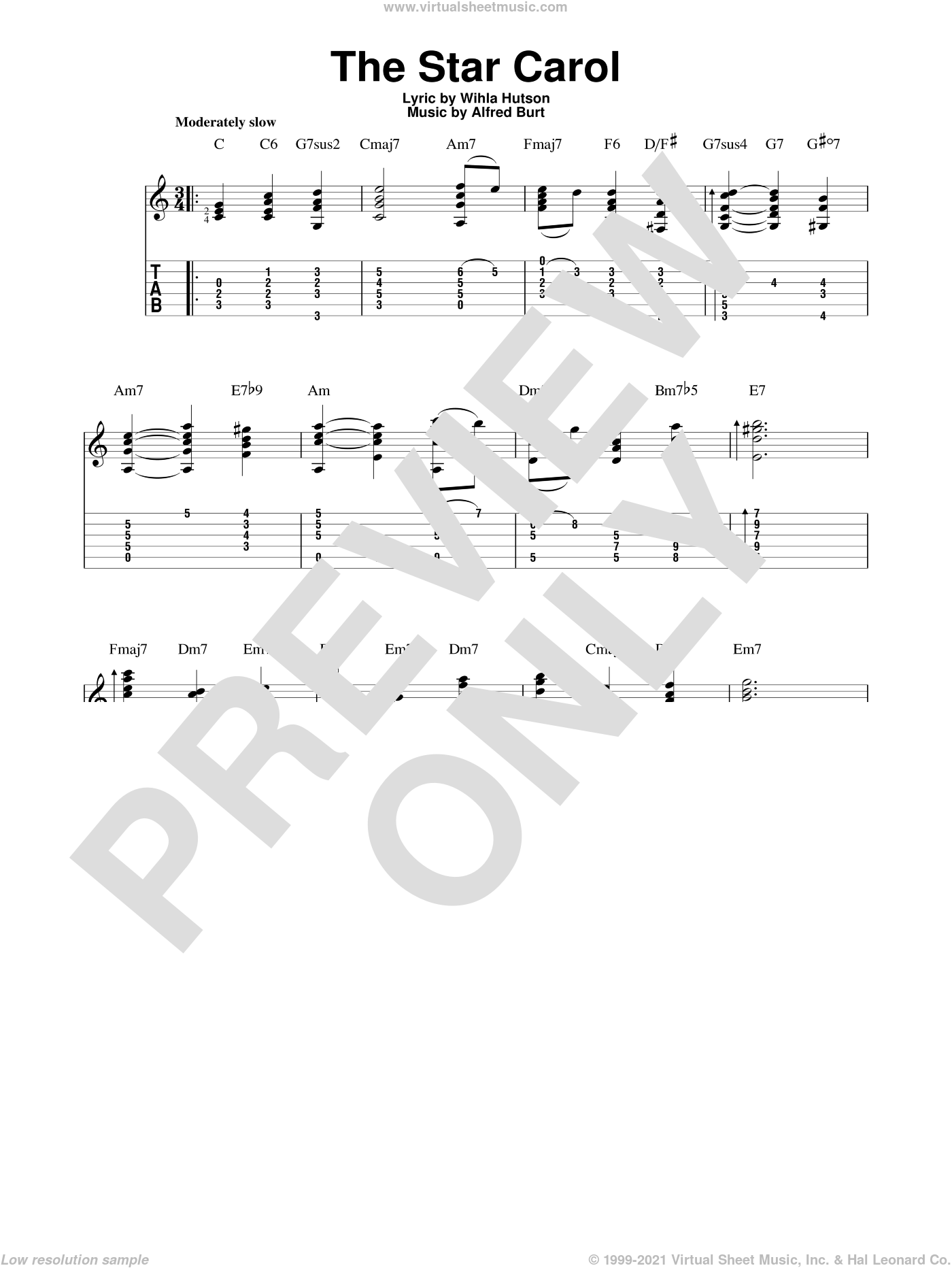 The Star Carol sheet music for guitar solo by Wihla Hutson