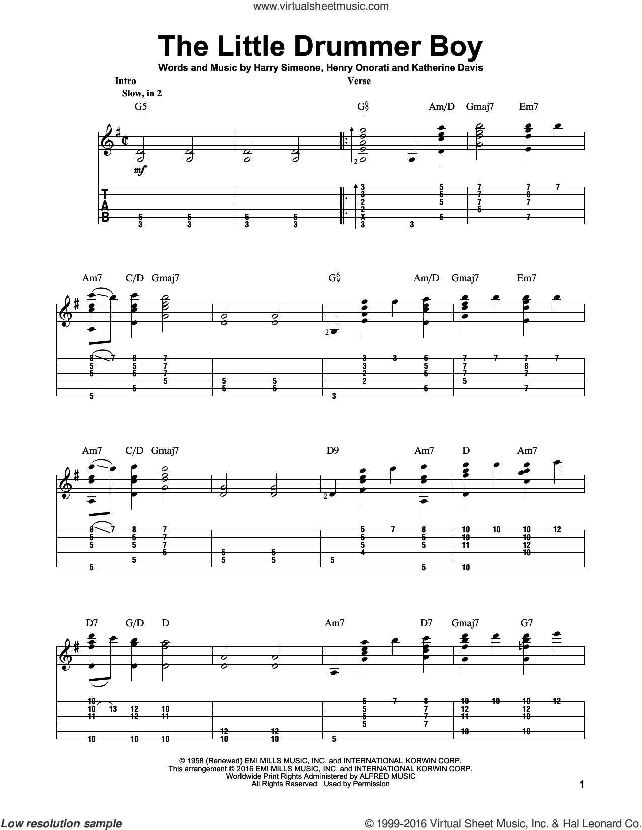 The Little Drummer Boy sheet music for guitar solo by Katherine Davis and Harry Simeone, intermediate skill level