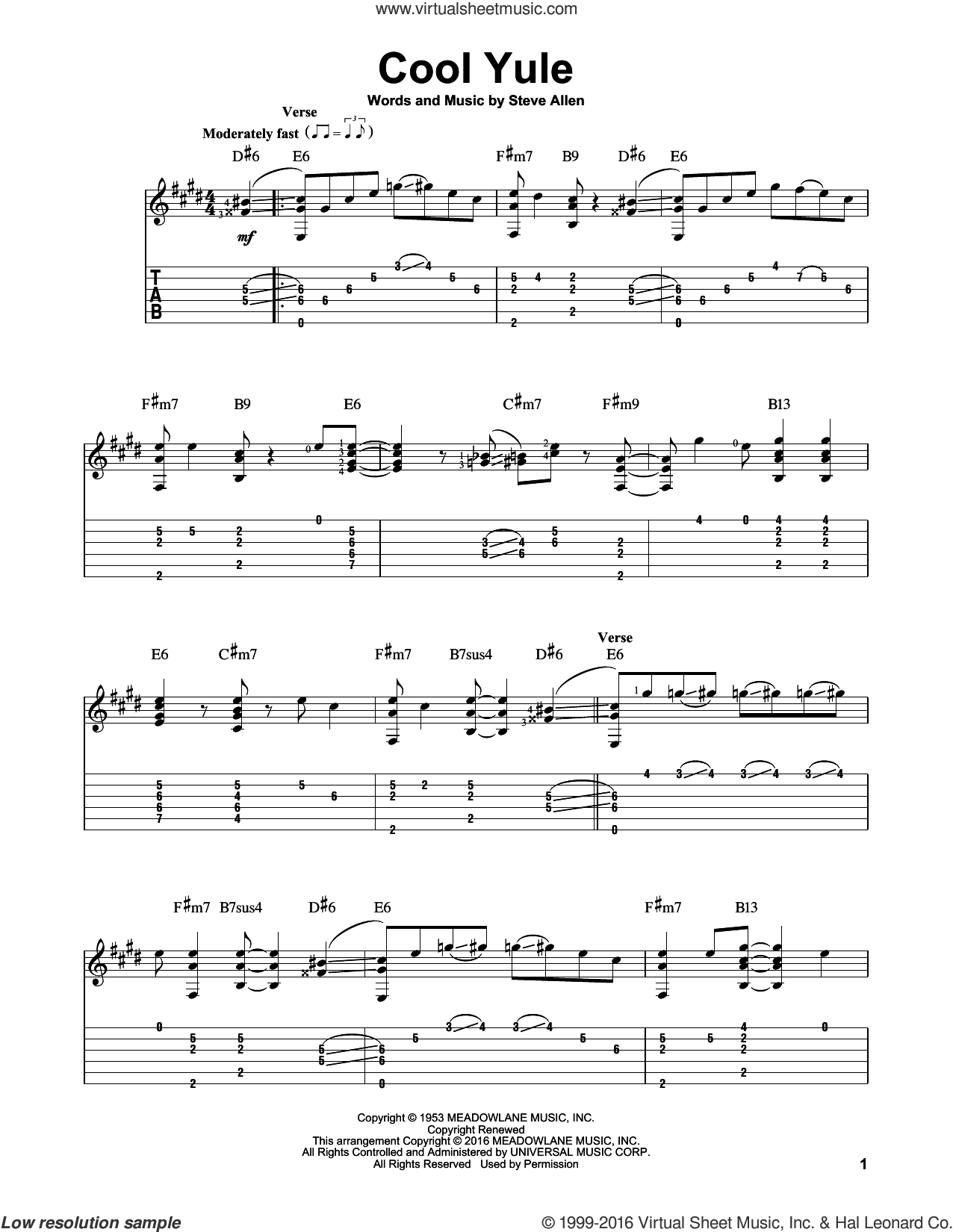 Cool Yule sheet music for guitar solo by Louis Armstrong and Steve Allen, intermediate skill level